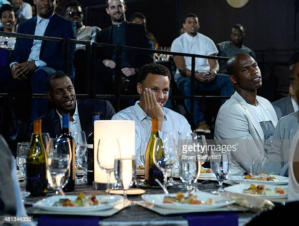 NBA player Ray Allen NBA player Stephen Curry of the Golden State Warriors and former NBA player Al Harrington sit in the audience during The...