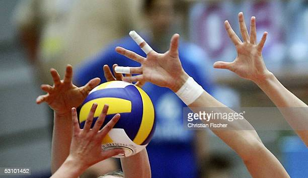 Player reach for the ball during the volleyball Women World Championships Qualifiers between Germany and Poland on June 19, 2005 in Dresden, Germany.