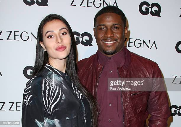 Player Reggie Bush and his Wife Lilit Avagyan attend the GQ and Z Zegna celebration on February 5 2015 in West Hollywood California