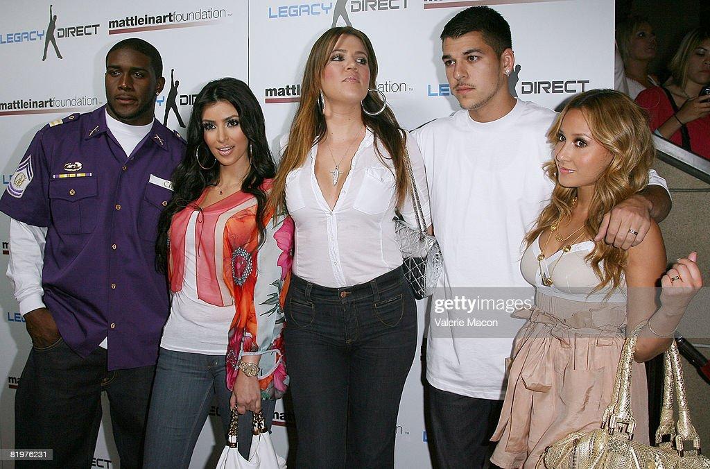NFL player Reggie Bush, TV Personnality Kim Kardashian, Khloe Kardashian, Robert Kardashian and Robert Kardashian attend the 2nd Annual Celebrity Bowling Night held by Matt Leinard on July 17, 2008 in Hollywood, California.