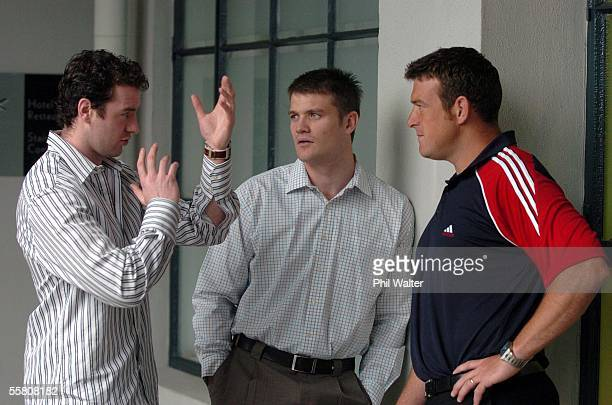 Player representives from left Geordan Murphy , Ben Tune and Dave Hewett chat before the start of the second day of the IRB Conference held at the...