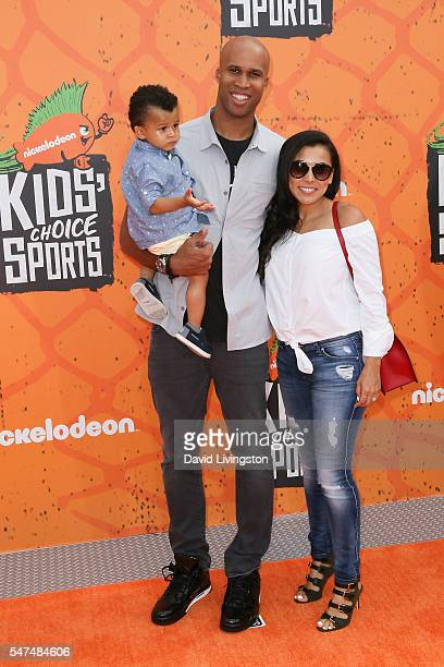 NBA player Richard Jefferson and family arrive at the Nickelodeon Kids' Choice Sports Awards 2016 at the UCLA's Pauley Pavilion on July 14 2016 in...