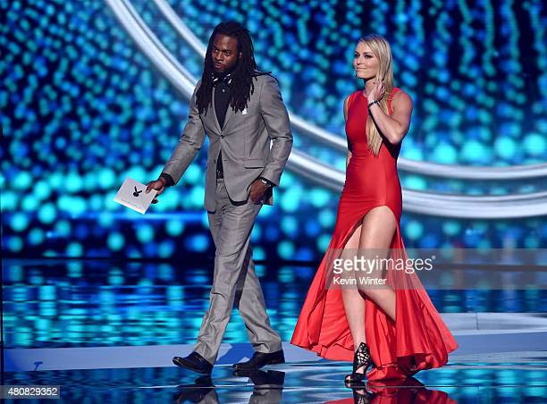 NFL player Richard Sherman and professional alpine ski racer Lindsey Vonn speak onstage during The 2015 ESPYS at Microsoft Theater on July 15 2015 in...