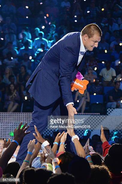 NFL player Rob Gronkowski accepts an award onstage during the Nickelodeon Kids' Choice Sports Awards 2016 at UCLA's Pauley Pavilion on July 14 2016...