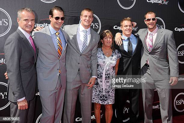 NFL player Rob Gronkowski and family arrive at The 2015 ESPYS at Microsoft Theater on July 15 2015 in Los Angeles California