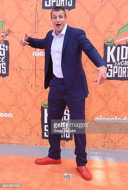 NFL player Rob Gronkowski arrives at Nickelodeon Kids' Choice Sports Awards 2016 at UCLA's Pauley Pavilion on July 14 2016 in Westwood California