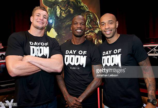 NFL player Rob Gronkowski former NFL player Chad Ochocinco Johnson and former professional soccer player Thierry Henry attend as athletes and YouTube...