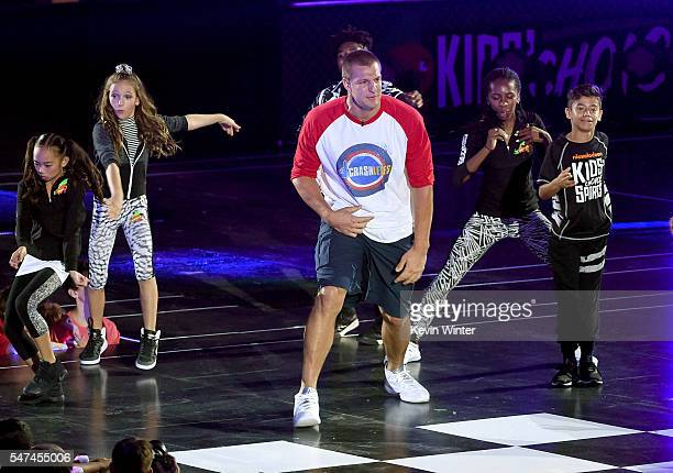 NFL player Rob Gronkowski performs onstage during the Nickelodeon Kids' Choice Sports Awards 2016 at UCLA's Pauley Pavilion on July 14 2016 in...