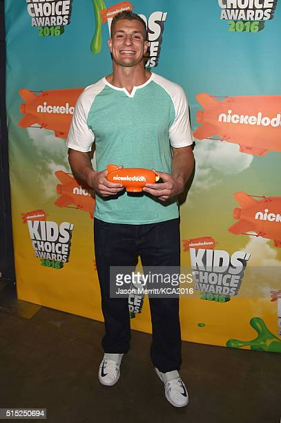 NFL player Rob Gronkowski poses backstage during Nickelodeon's 2016 Kids' Choice Awards at The Forum on March 12 2016 in Inglewood California