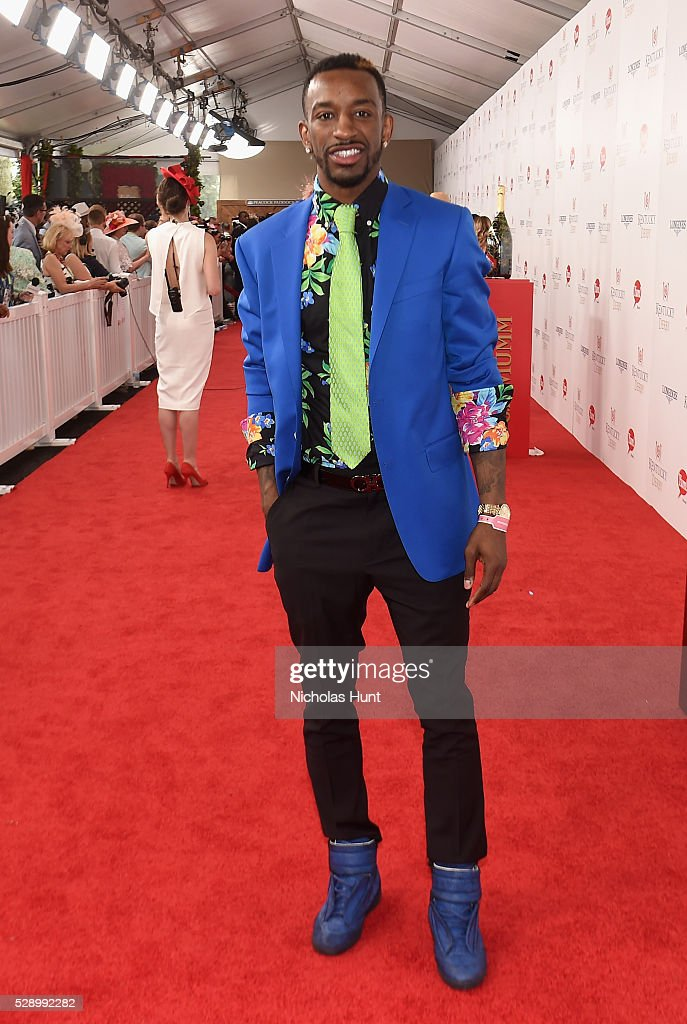 NBA player Russ Smith arrives at the 142nd Kentucky Derby at Churchill Downs on May 7, 2016 in Louisville, Kentucky.