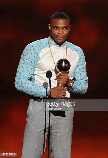 NBA player Russell Westbrook accepts the Best Comeback Athlete award onstage during the 2014 ESPYS at Nokia Theatre LA Live on July 16 2014 in Los...