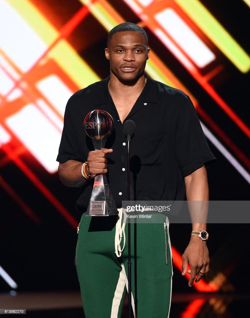 NBA player Russell Westbrook accepts the Best Male Athlete award onstage at The 2017 ESPYS at Microsoft Theater on July 12, 2017 in Los Angeles, California.