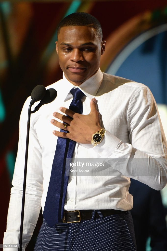NBA player Russell Westbrook accepts the Kia NBA Most Valuable Player award onstage during the 2017 NBA Awards Live on TNT on June 26, 2017 in New York, New York. 27111_002