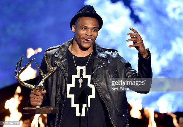 NBA player Russell Westbrook accepts the Top Fantasy Leaguer award onstage during Spike TV's Guys Choice 2015 at Sony Pictures Studios on June 6 2015...