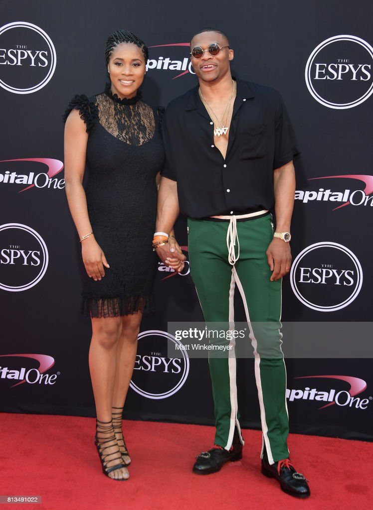 NBA player Russell Westbrook (R) and Nina Earl attend The 2017 ESPYS at Microsoft Theater on July 12, 2017 in Los Angeles, California.