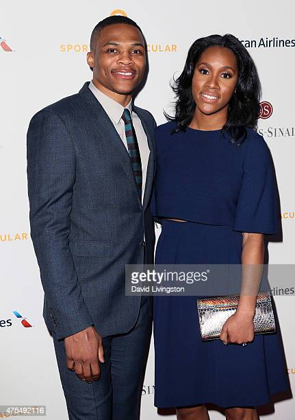 NBA player Russell Westbrook and Nina Earl attend the CedarsSinai Sports Spectacular at the Hyatt Regency Century Plaza on May 31 2015 in Century...