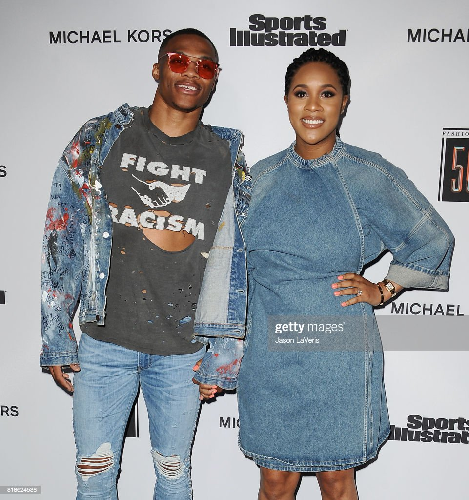 NBA player Russell Westbrook and wife Nina Earl attend the Sports Illustrated Fashionable 50 event at Avenue on July 18, 2017 in Los Angeles, California.