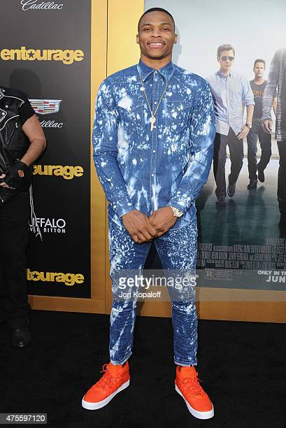 NBA player Russell Westbrook arrives at the Los Angeles Premiere 'Entourage' at Regency Village Theatre on June 1 2015 in Westwood California