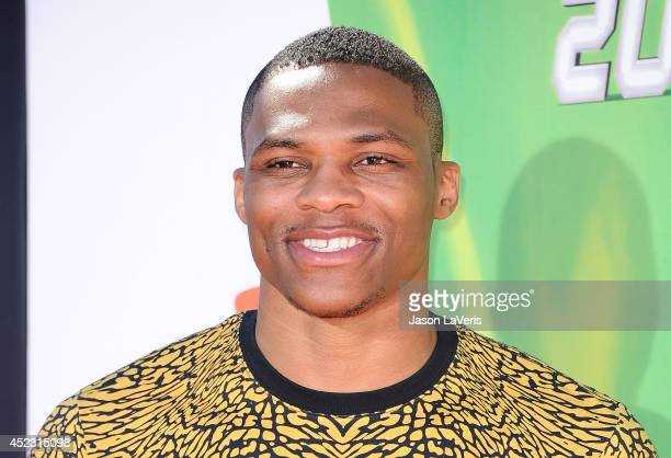 NBA player Russell Westbrook attends the 2014 Nickelodeon Kids' Choice Sports Awards at Pauley Pavilion on July 17 2014 in Los Angeles California