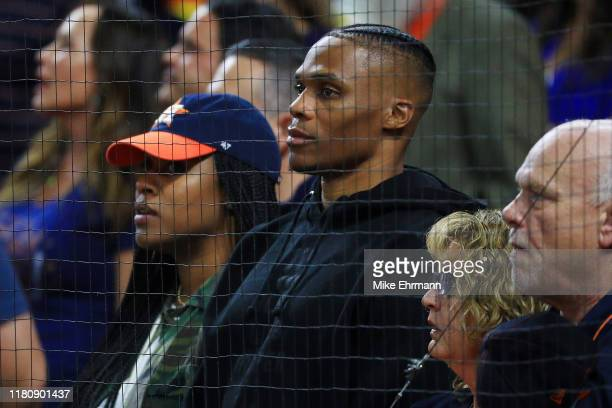 NBA player Russell Westbrook of the Houston Rockets attends game two of the American League Championship Series between the Houston Astros and the...