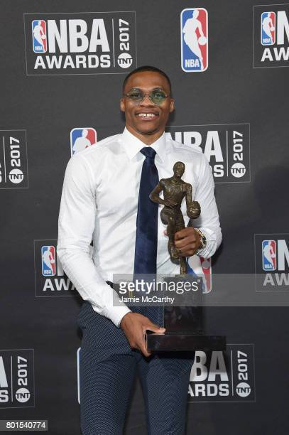 NBA player Russell Westbrook poses with the Kia NBA Most Valuable Player award at attends the 2017 NBA Awards live on TNT on June 26 2017 in New York...