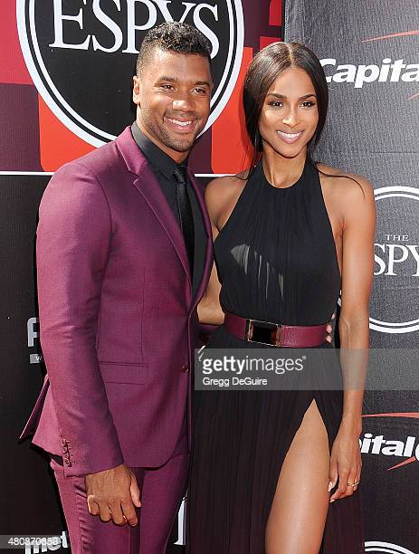 NFL player Russell Wilson and Ciara arrive at The 2015 ESPYS at Microsoft Theater on July 15 2015 in Los Angeles California
