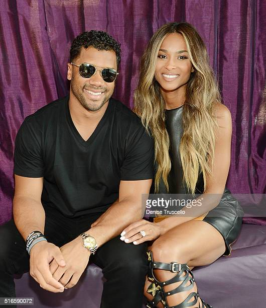 NFL player Russell Wilson and Ciara attend the season grand opening of the Marquee Nightclub at The Cosmopolitan of Las Vegas on March 19 2016 in Las...