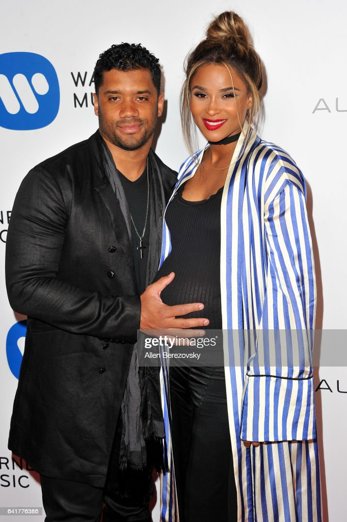 Player Russell Wilson (L) and Musician Ciara attend Warner Music Group's Annual GRAMMY Celebration at Milk Studios on February 12, 2017 in Hollywood, California.