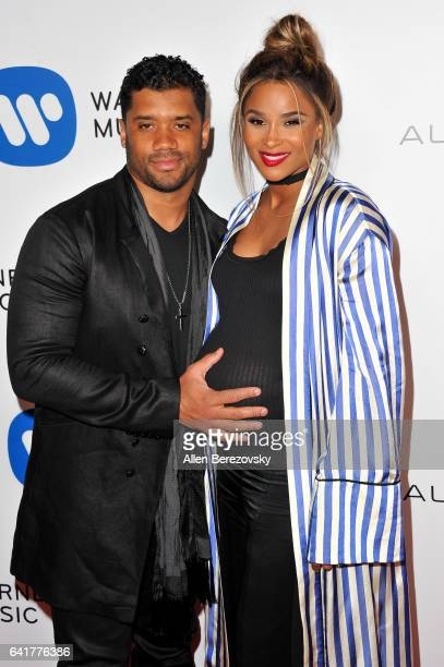 Player Russell Wilson and Musician Ciara attend Warner Music Group's Annual GRAMMY Celebration at Milk Studios on February 12 2017 in Hollywood...