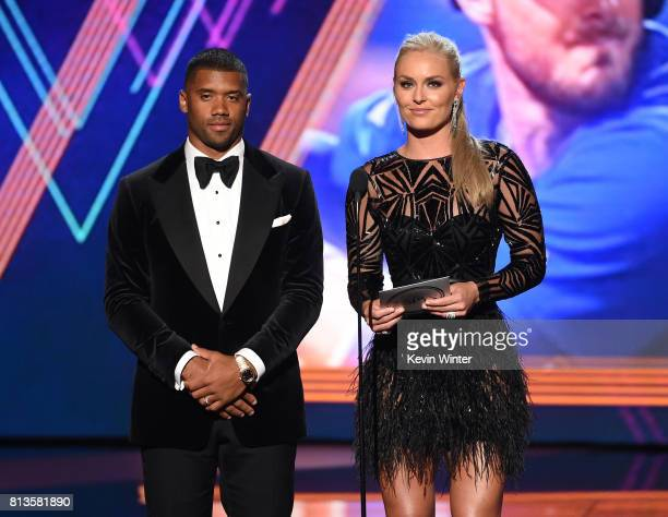 NFL player Russell Wilson and Olympic skier Lindsey Vonn speak onstage at The 2017 ESPYS at Microsoft Theater on July 12 2017 in Los Angeles...