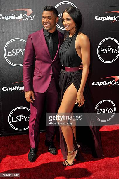 NFL player Russell Wilson and recording artist Ciara arrive at the 2015 ESPYS at Microsoft Theater on July 15 2015 in Los Angeles California