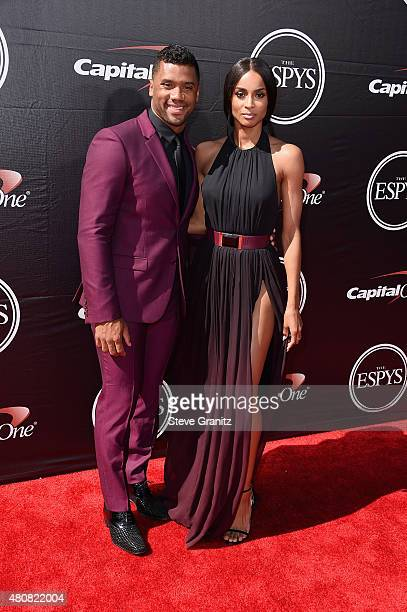 NFL player Russell Wilson and recording artist Ciara attend The 2015 ESPYS at Microsoft Theater on July 15 2015 in Los Angeles California