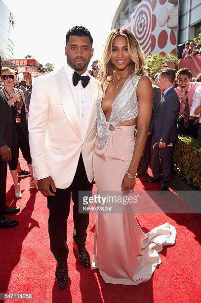 NFL player Russell Wilson and recording artist Ciara attend the 2016 ESPYS at Microsoft Theater on July 13 2016 in Los Angeles California