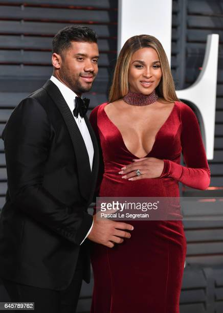 NFL player Russell Wilson and recording artist Ciara attend the 2017 Vanity Fair Oscar Party hosted by Graydon Carter at Wallis Annenberg Center for...