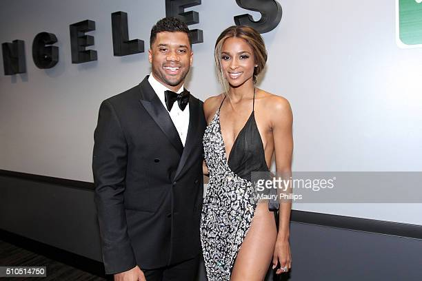 NFL player Russell Wilson and recording artist Ciara attend the GRAMMY Charities Signings backstage during The 58th GRAMMY Awards at Staples Center...