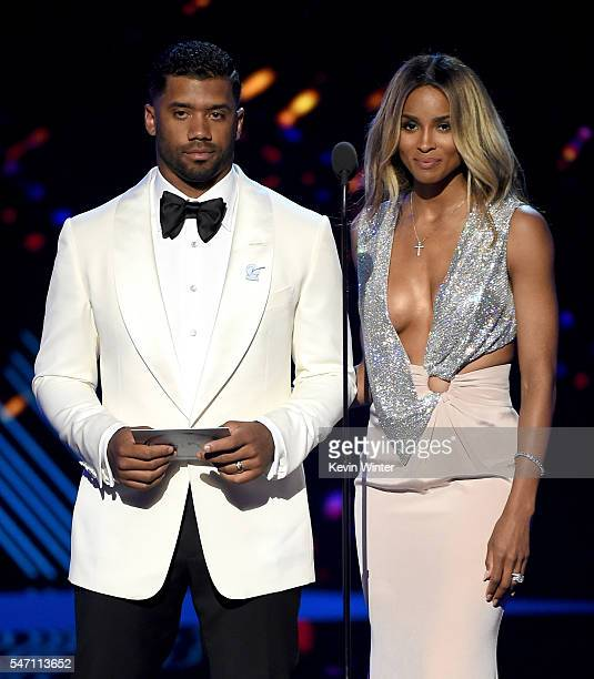NFL player Russell Wilson and recording artist Ciara speak onstage during the 2016 ESPYS at Microsoft Theater on July 13 2016 in Los Angeles...