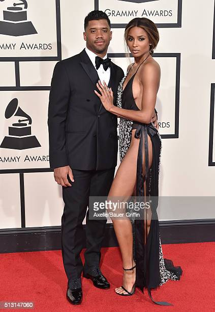 NFL player Russell Wilson and singer Ciara arrive at The 58th GRAMMY Awards at Staples Center on February 15 2016 in Los Angeles California