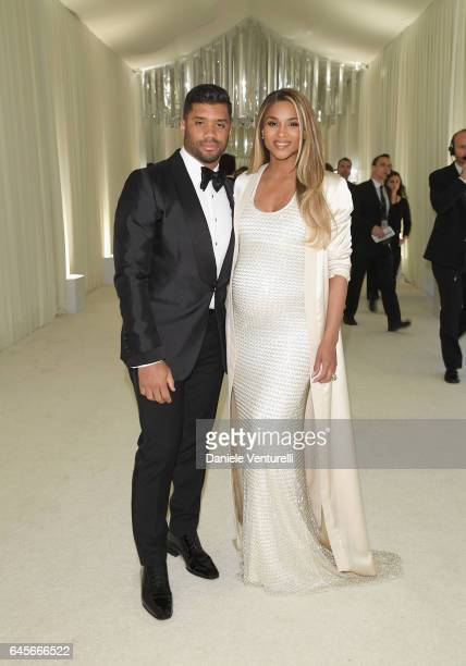 NFL player Russell Wilson and singer Ciara attend Bulgari at the 25th Annual Elton John AIDS Foundation's Academy Awards Viewing Party at on February...
