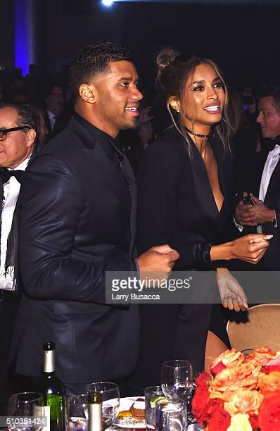 NFL player Russell Wilson and singer Ciara attend the 2016 PreGRAMMY Gala and Salute to Industry Icons honoring Irving Azoff at The Beverly Hilton...