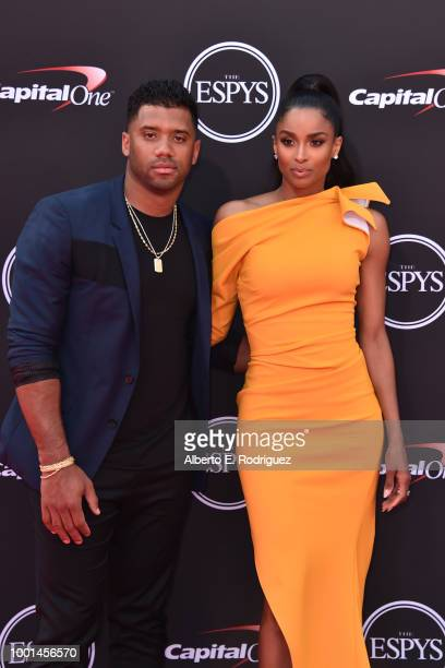 NFL player Russell Wilson and singer Ciara attend The 2018 ESPYS at Microsoft Theater on July 18 2018 in Los Angeles California