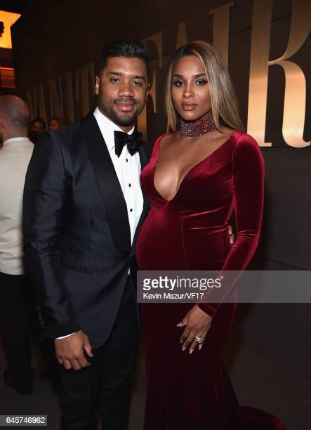 NFL player Russell Wilson and singer Ciara attends the 2017 Vanity Fair Oscar Party hosted by Graydon Carter at Wallis Annenberg Center for the...