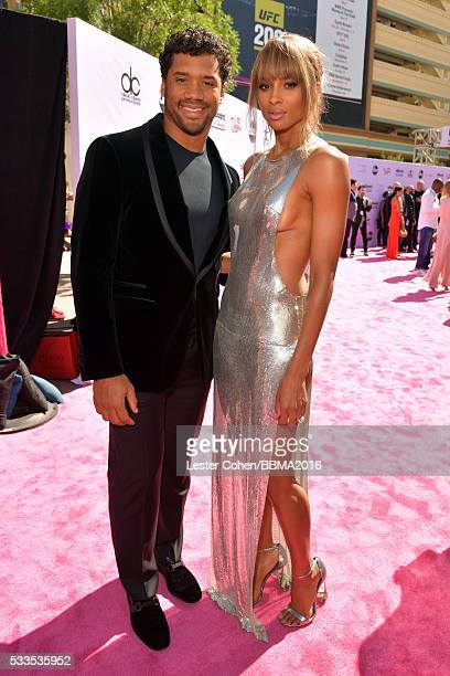 NFL player Russell Wilson and singer/cohost Ciara attend the 2016 Billboard Music Awards at TMobile Arena on May 22 2016 in Las Vegas Nevada