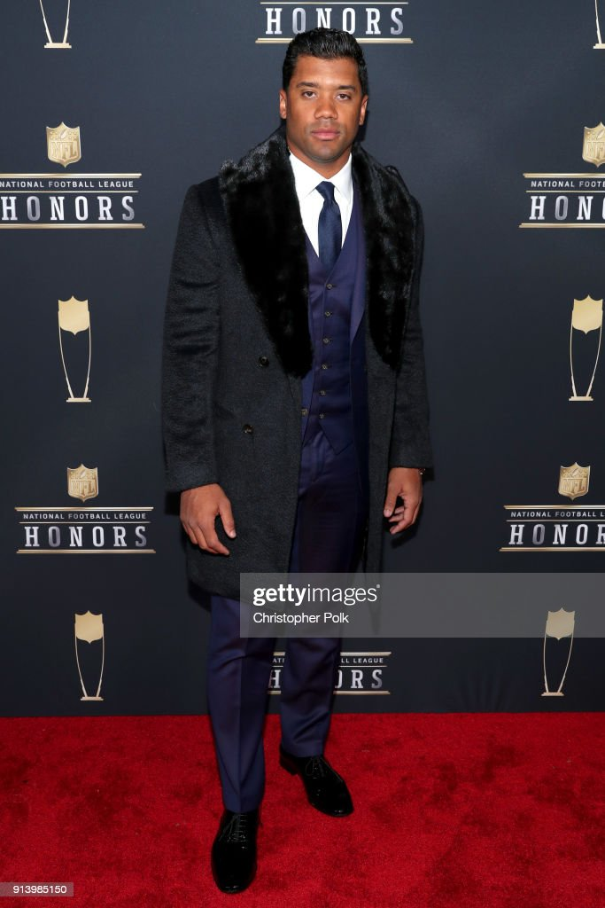 Player Russell Wilson attends the NFL Honors at University of Minnesota on February 3, 2018 in Minneapolis, Minnesota.
