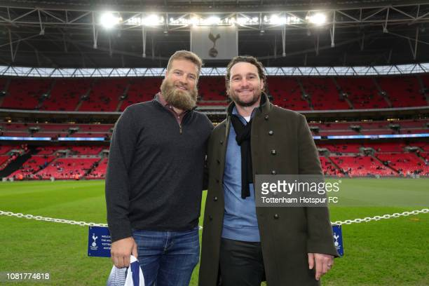 NFL player Ryan Fitzpatrick and MLB player Daniel Murphy pose for a photo prior to the Premier League match between Tottenham Hotspur and Manchester...