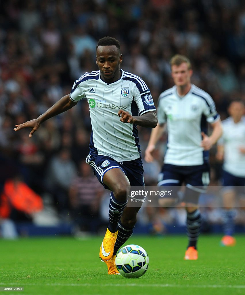 WBA player Saido Berahino in action during the Barclays Premier League match between West Bromwich Albion and Burnley at The Hawthorns on September 28, 2014 in West Bromwich, England.