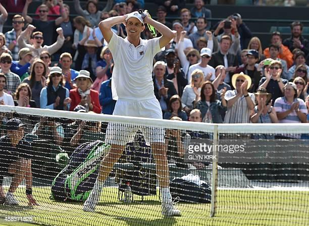 Player Sam Querrey celebrates beating Serbia's Novak Djokovic during their men's singles third round match on the sixth day of the 2016 Wimbledon...