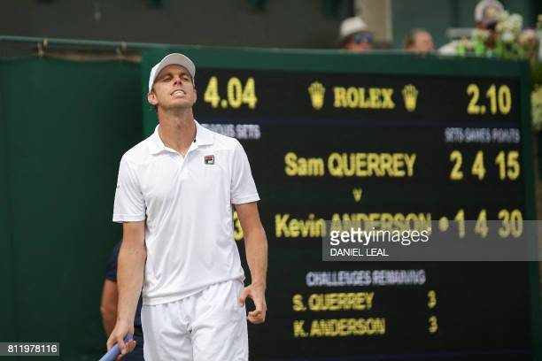 US player Sam Querrey reacts after a point against South Africa's Kevin Anderson during their men's singles fourth round match on the seventh day of...