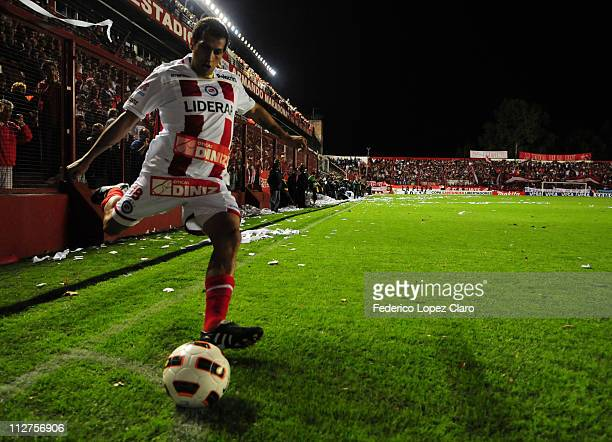 Player Sanchez of Argentinos Jr during a match for the Santander Libertadores Cup 2011 in Diego Armando Maradona Stadium on April 20 2011 in Buenos...