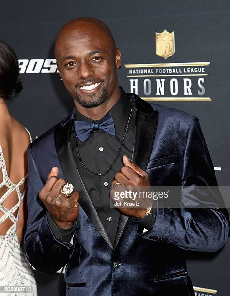 NFL player Santonio Holmes attends the 5th Annual NFL Honors at Bill Graham Civic Auditorium on February 6 2016 in San Francisco California
