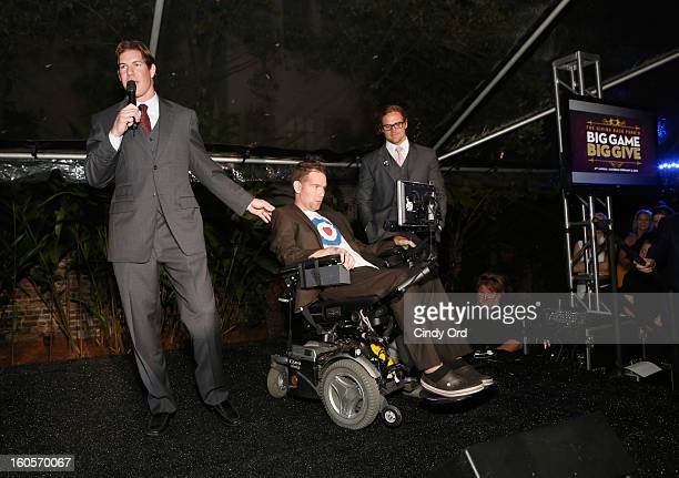 NFL player Scott Fujita and former NFL player Steve Gleason attend The Giving Back Fund's 4th Annual Big Game Big Give Super Bowl Celebration on...